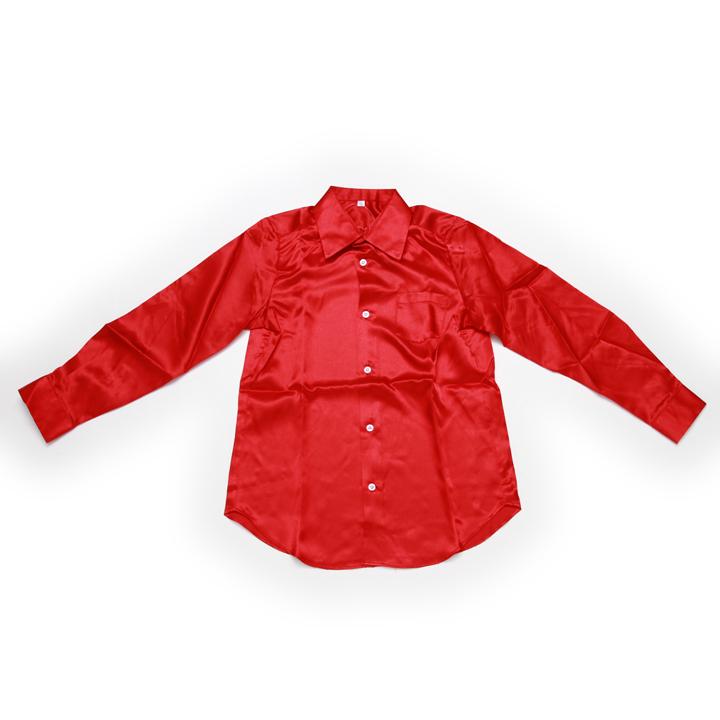 ダンス 衣装 サテンシャツ レッド