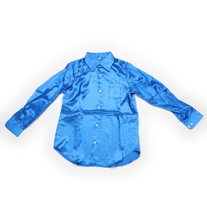 ダンス 衣装 サテンシャツ ブルー