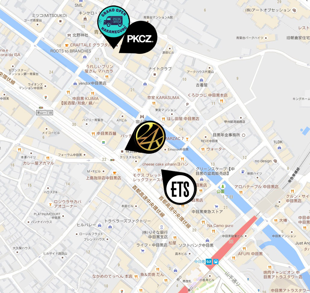 exile,中目黒,地図